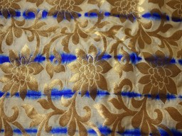 Banarasi Silk Fabric Beige  Royal Blue and Gold