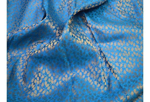 Brocade fabric wedding dress fabric in blue gold banarasi brocade fabric indian art silk brocade fabric by the yard curtain fabric