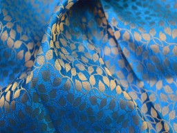 Brocade fabric wedding dress fabric in blue gold banarasi brocade fabric indian art silk brocade fabric by the yard curtain fabric