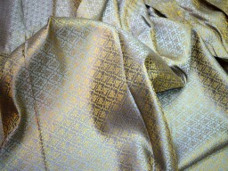 Brocade Fabric Grey Gold brocade jacquard fabric Art silk fabric Indian Banarsi Brocade fabric Indian Fabric wedding fabric