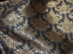 Black and Golden Brocade Fabric  Silk Fabric with Golden Jari Motifs