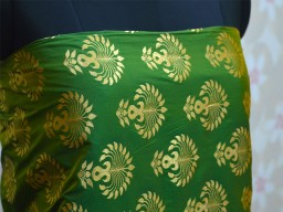 Green Brocade Fabric by the yard
