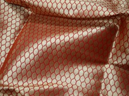 Brocade Fabric by the Yard Wedding Dress fabric in Orange Banarasi Brocade Fabric Banaras Brocade Blended Silk Fabric