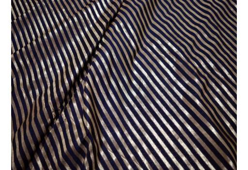 Costume Fabric Banarasi Brocade By The Yard Blended Silk Navy Blue Varanasi Gold Diagonal Stripes Design Brocade Crafting Varanasi Trousers Materials Bowtie Bridal Clutches Cloth
