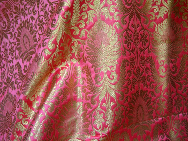 Beautiful Heavy Banarasi Blended Silk Brocade By The Yard Floral Design Fabric Rosewood Red And Gold Wedding Costume Material
