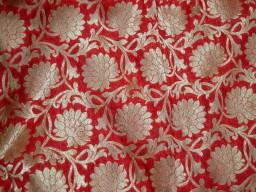 Wedding Dress Material Indian fabric Red Brocade
