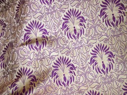 Banarsi satin brocade fabric in Beige  Purple and Gold