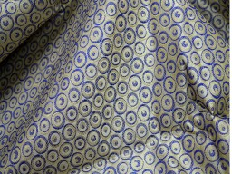 Banarasi brocade  Beige Blue Gold silk wedding dress fabric