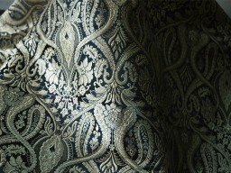 Silk Brocade Fabric Black and Gold