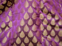 Blended silk brocade illustrate small golden woven leaves motifs design fabric  purple background brocade wholesale fabric by the yard evening dress material mat making brocade furniture cover brocade clutches fabric bow-tie brocade