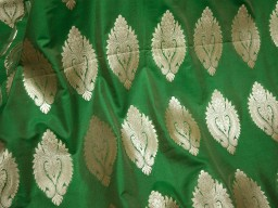 Brocade large leaves design fabric in Green and Gold