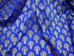 Benarasi blended silk brocade golden floral design fabric royal blue wholesale brocade by the yard occasion fabric curtain making material outdoor brocade online fabric hair crafting brocade tops