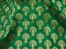 Banarasi Brocade fabric in Green Gold Blended silk