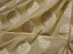 Indian Fabric Wedding Dress Fabric  in Beige Gold