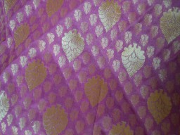 Indian Brocade Fabric in Mauve and Gold Floral Pattern Weaving Art Silk Wedding Dress Banarasi Fabric by Yard home furnishing sewing accessories