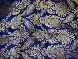 2.25 Meter Banarasi Wedding Dress Material Lehenga Making Skirt Traditional Brocade Navy Blue Brocade Sewing Crafting Costume Dress Fabric clothing accessories