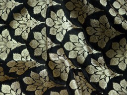 Black Silk Banarasi Fabric for Lengha Brocade