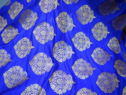 2.5 Meter Royal Blue Brocade Banarasi Art Blended Silk Wedding Dress Bridesmaid Lehenga Hat Making Home Furnishing Fabric clothing accessories