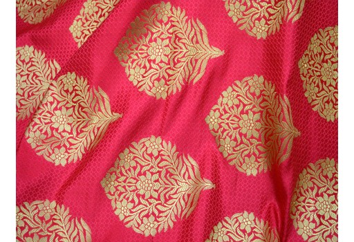 Silk Fabric Banaras lehenga Fabric Carrot Red Brocade