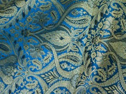 Banarasi Silk brocade illustrate golden design fabric turquoise blue brocade wholesale fabric by the yard online evening dress material mat making brocade furniture cover brocade clutches fabric bow-tie brocade