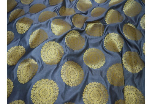 Banarasi Silk Grey Brocade Wedding Dress  Fabric