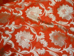 Benarasi blended silk brocade golden design fabric indian wholesale orange brocade by the yard occasion fabric curtain making material outdoor brocade online fabric hair crafting brocade tops fabric scrap booking projects brocade