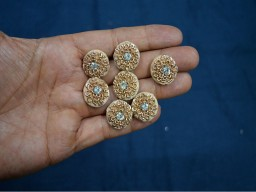 Beautiful gold and beige embellishment decorative fancy zari thread kundan stone floral design handcrafted fabric cover buttons handmade accessory