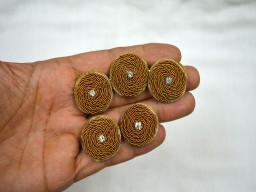 Beautiful beige and gold embellishment zardozi decorative fancy handcrafted wedding wear floral design button craft supplies and tools