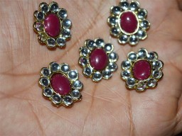Metal Maroon Embellishment Button Rhinestone buttons
