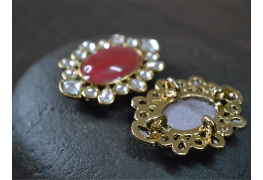 Embellishment Fancy Buttons 2pc Red Metal buttons