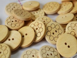 25mm Wood Buttons Large Wooden buttons Natural Wood Cream Round 2 holes Sewing Buttons Craft Embellishments Scrapbooking