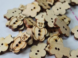 25mm Teddy bear shaped wooden buttons Natural Wooden Button Children Button Baby Button Two Holes Sewing Button Cute Button Big Button In 10 Pieces