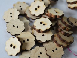 25mm Flower shaped wooden buttons Children Button Baby Button Natural Wooden Button Two Holes Sewing Button Cute Button Big Button In 10 Pieces