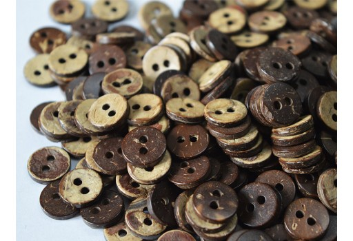 10mm Carved Coconut Buttons Big Coconut Shell Buttons Natural Wood Dark Round 2 holes Sewing Buttons Craft Embellishments Scrapbooking