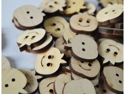 Children Wooden Button 25mm Apple shaped wooden buttons Two Holes Sewing Button, Cute Button Big Button For Dresses Natural Wooden Button In 10 Pieces