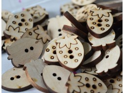 Natural Wooden Button Two Holes Sewing Button Cute Button Big Button 25mm Strawberry shaped wooden buttons Children Button Baby Button In 10 Pieces