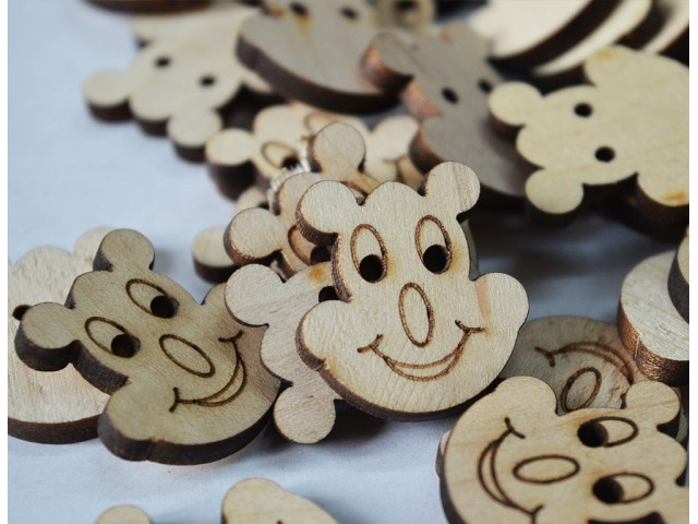 Natural Wooden Button 25mm Bunny shaped wooden buttons, Children Button Two Holes Sewing Button Cute Button Big Button Baby Button