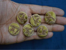 Beautiful decorative beige embroidered fancy zari thread floral design handcrafted fabric cover embellishment button crafting sewing supplies