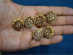 Brown and beige embroidered decorative embellishment beautiful sequins beads fancy handcrafted wedding wear floral design button crafting supplies and  sewing