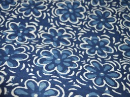 Flower Pattern Organic Indigo and White Printed Cotton Fabric