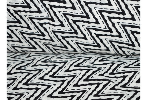 Block Printed Indian Cotton fabric in black and white