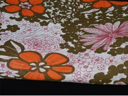 Orange Floral Printed Cotton fabric