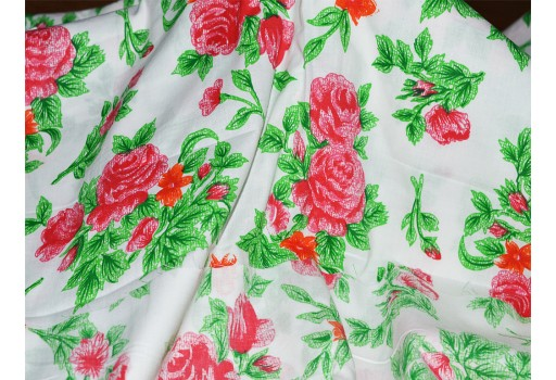 Cotton Fabric in Red Green Floral Print