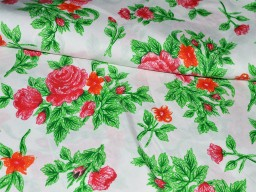 Cotton Fabric in Red Green Floral Print Print Indian Fabric soft cotton Fabric for Dress Nursery Quilting  Crafting