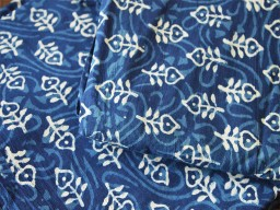 Indigo Blue Cotton Fabric Vegetable dyed Hand Block Printed Cotton