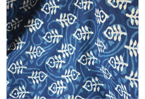 Indian Hand Block Printed Quilting Floral Indigo Blue Cotton Fabric by Yard Sewing Crafting Drapes Curtains Summer Women Kids Apparel Dress