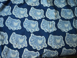 Hand Stamped Indigo Fabric Elephant Print Quilting Cotton Fabric