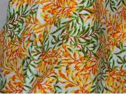 Quilting Cotton Fabric in Green Yellow and Orange  Soft Cotton fabric