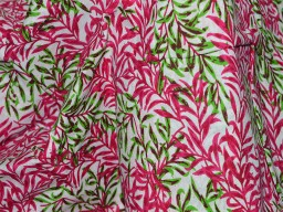 Quilting Cotton Fabric in Green and Fuchsia  Soft Cotton fabric