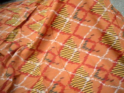 Homespun Ikat Cotton Fabric Handloom Ikat Cotton Fabric by the yard in Burnt Orange Ikat Fabric for Home Decor Cushion Covers